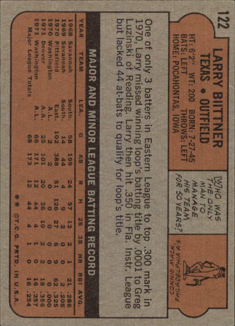 1972 Topps #122 Larry Biittner RC back image
