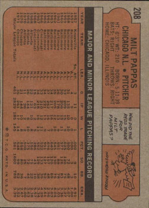 1972 Topps #208 Milt Pappas back image
