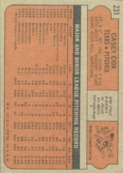 1972 Topps #231 Casey Cox back image