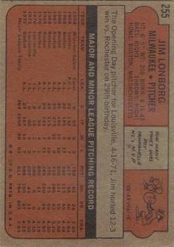 1972 Topps #255 Jim Lonborg back image