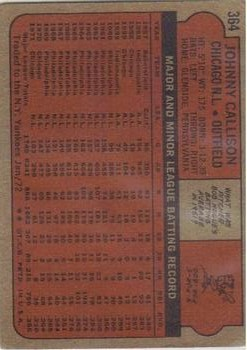 1972 Topps #364 Johnny Callison back image