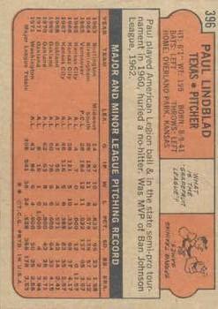 1972 Topps #396 Paul Lindblad back image