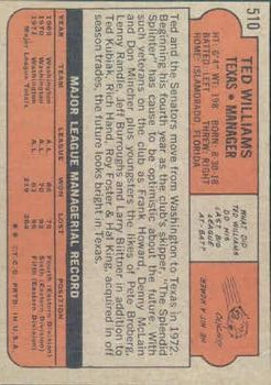 1972 Topps #510 Ted Williams MG back image
