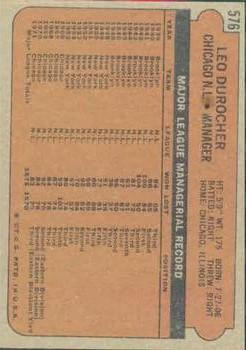 1972 Topps #576 Leo Durocher MG back image
