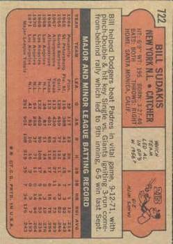 1972 Topps #722 Bill Sudakis back image