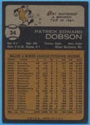 1973 Topps #34 Pat Dobson back image