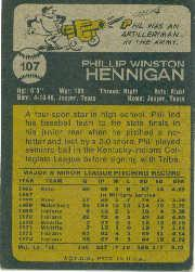 1973 Topps #107 Phil Hennigan back image
