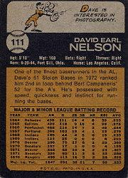 1973 Topps #111 Dave Nelson back image