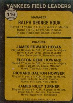 1973 Topps #116B Ralph Houk MG/Jim Hegan CO/Elston Howard CO/Dick Howser CO/Jim Turner CO/Natural backgrounds back image