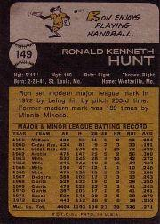 1973 Topps #149 Ron Hunt back image