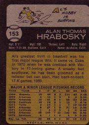 1973 Topps #153 Al Hrabosky back image