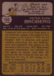 1973 Topps #162 Pete Broberg back image