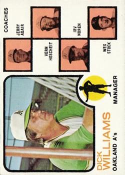 1973 Topps #179B Dick Williams MG/Jerry Adair CO/Vern Hoscheit CO/Irv Noren CO/Wes Stock CO/Hoscheit left ear/not showing