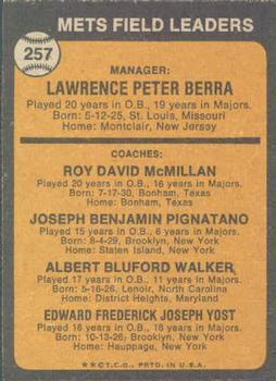 1973 Topps #257A Yogi Berra MG/Roy McMillan CO/Joe Pignatano CO/Rube Walker CO/Eddie Yost CO/Orange background back image