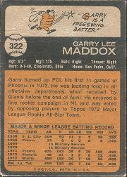 1973 Topps #322 Garry Maddox RC back image