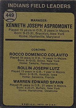 1973 Topps #449A Ken Aspromonte MG/Rocky Colavito CO/Joe Lutz CO/Warren Spahn CO/Spahn's right/ear pointed back image
