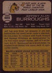 1973 Topps #489 Jeff Burroughs back image
