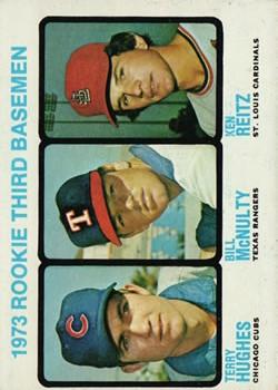 1973 Topps #603 Rookie Third Basemen/Terry Hughes RC/Bill McNulty RC/Ken Reitz RC
