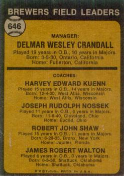 1973 Topps #646 Del Crandall MG/Harvey Kuenn CO/Joe Nossek CO/Bob Shaw CO/Jim Walton CO back image