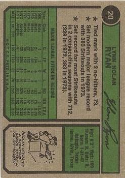 1974 Topps #20 Nolan Ryan back image