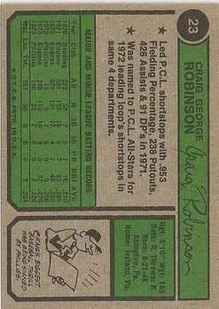 1974 Topps #23 Craig Robinson RC back image