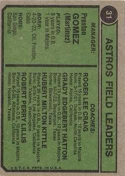 1974 Topps #31 Preston Gomez MG/Roger Craig CO/Hub Kittle CO/Grady Hatton CO/Bob Lillis CO back image