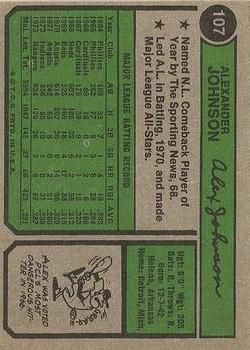 1974 Topps #107 Alex Johnson back image