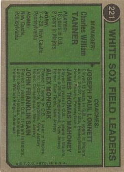 1974 Topps #221 Chuck Tanner MG/Jim Mahoney CO/Alex Monchak CO/Johnny Sain CO/Joe Lonnett CO back image