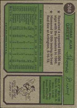 1974 Topps #268 Tom Grieve back image