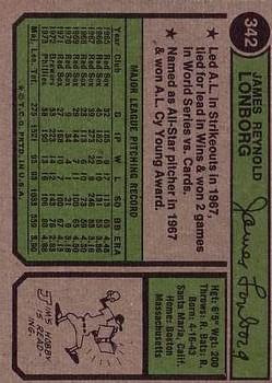 1974 Topps #342 Jim Lonborg back image