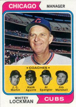 1974 Topps #354 Whitey Lockman MG/J.C. Martin CO/Hank Aguirre CO/Al Spangler CO/Jim Marshall CO