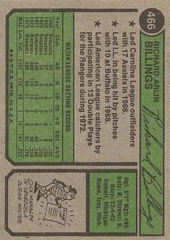 1974 Topps #466 Dick Billings back image