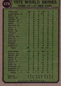 1974 Topps #476 World Series Game 5/Cleon Jones back image