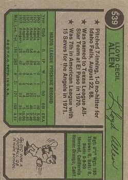 1974 Topps #539 Lloyd Allen back image