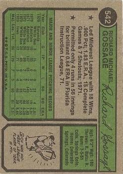 1974 Topps #542 Goose Gossage back image