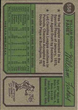 1974 Topps #558 Bill Fahey back image