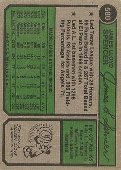 1974 Topps #580 Jim Spencer back image