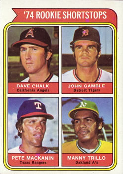 1974 Topps #597 Rookie Infielders/Dave Chalk RC/John Gamble RC/Pete MacKanin RC/Manny Trillo RC