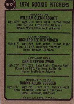 1974 Topps #602 Rookie Pitchers/Glen Abbott RC/Rick Henninger RC/Craig Swan RC/Dan Vossler RC back image