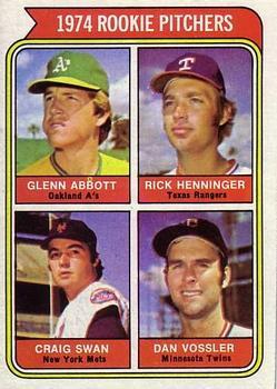 1974 Topps #602 Rookie Pitchers/Glen Abbott RC/Rick Henninger RC/Craig Swan RC/Dan Vossler RC