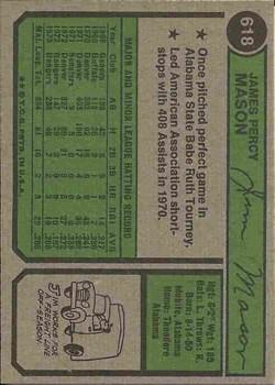 1974 Topps #618 Jim Mason back image
