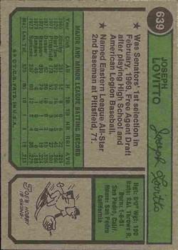 1974 Topps #639 Joe Lovitto back image