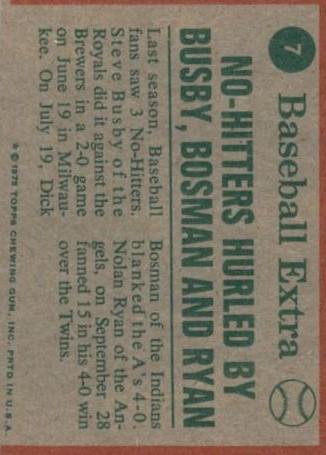 1975 Topps #7 Ryan/Busby/Bosman HL back image