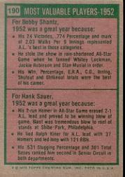 1975 Topps #190 Bobby Shantz/Hank Sauer MVP back image