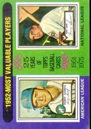 1975 Topps #190 Bobby Shantz/Hank Sauer MVP