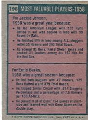1975 Topps #196 Jackie Jensen/Ernie Banks MVP back image