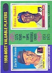 1975 Topps #196 Jackie Jensen/Ernie Banks MVP