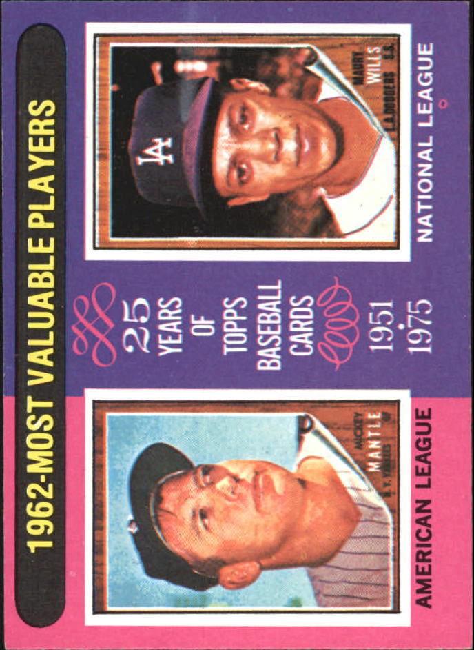 1975 Topps 200 Mickey Mantlemaury Wills Mvpwills Card Never