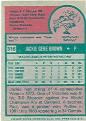 1975 Topps #316 Jackie Brown back image