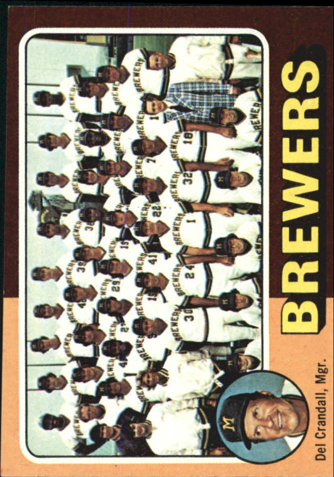 1975 Topps #384 Milwaukee Brewers CL/Del Crandall MG